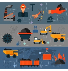 Coal industry line banners vector image vector image