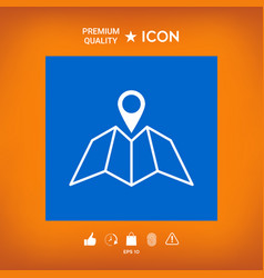 map icon with pin pointer vector image vector image