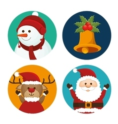 set christmas santa deer snowman and bell vector image