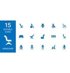 15 armchair icons vector