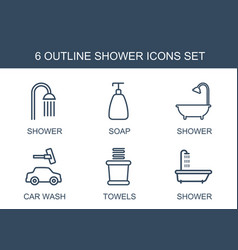 6 shower icons vector image