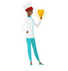 African-american chef cook holding a trophy vector