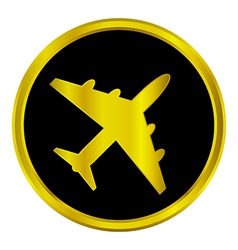 Airplane button vector image