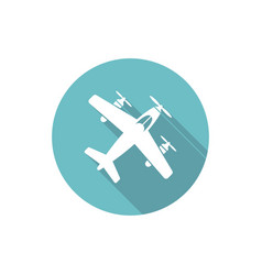 Airplane isolated round flat icon vector