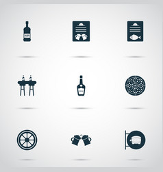 alcohol icons set with cognac fish menu ale sign vector image