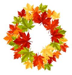 Autumnal leaf frame vector