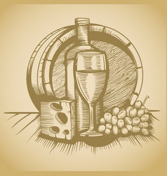 Barrel of wine cheese and grapes sketch pictures vector