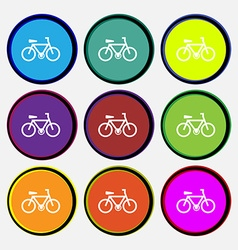 Bicycle icon sign Nine multi colored round buttons vector