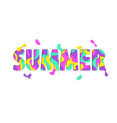 bright summer lettering isolated on white vector image