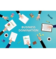 Business domination concept work in desk with vector
