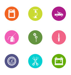 car mechanic icons set flat style vector image