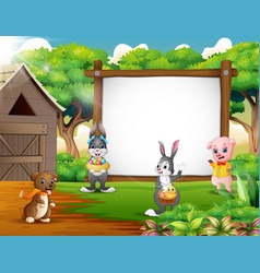 cartoon easter backround with farm animal vector image