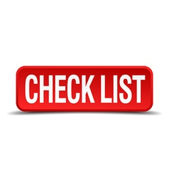 check list red 3d square button on white vector image