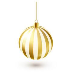 christmas tree shiny golden ball new year vector image