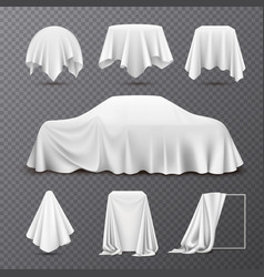 Cloth covered objects transparent set vector