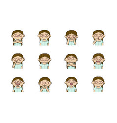 collection of 12 of little girl showing vector image
