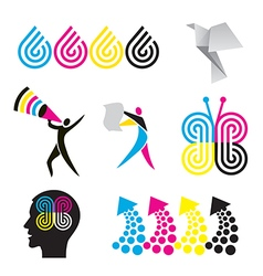 Color print design elements vector image