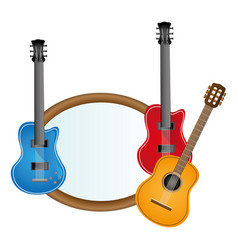 Colorful silhouette with guitars set electric and vector