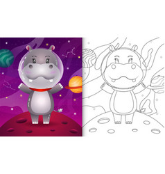 Coloring book for kids with a cute hippo vector