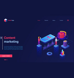 content marketing concept isometric landing page vector image