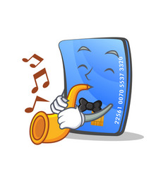 Credit card character cartoon with trumpet vector
