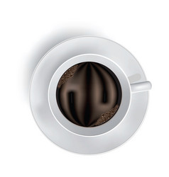 cup of coffee with foam on white vector image