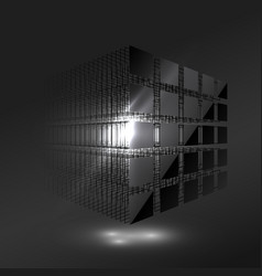 Dark black cube from small pieces block chain vector