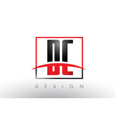 Dc d c logo letters with red and black colors and vector