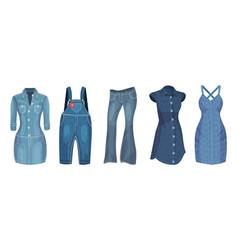 Denim blue clothing items as womenswear with denim vector