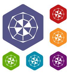 Diamond gemstone icons set hexagon vector