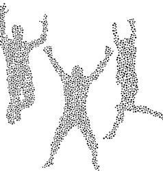 Dots silhouettes of men jumping vector image