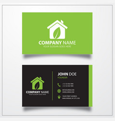 Eco house icon business card template vector