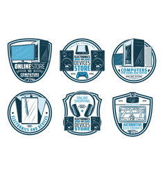 Electronic device retro badge of digital gadget vector