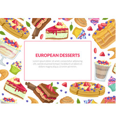 European desserts banner template bakery shop vector