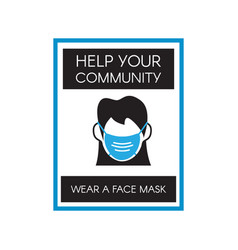Face mask signage template isolated vector