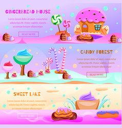 Fairy tale candy land banners vector
