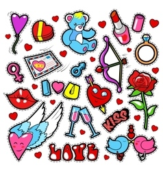 Fashion love badges set with patches stickers vector