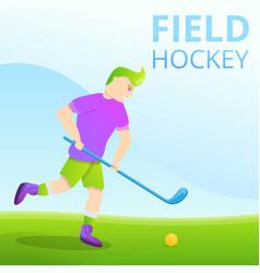 field hockey concept banner cartoon style vector image
