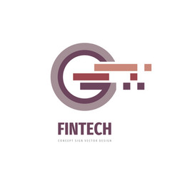 Fintech concept logo design business finance vector