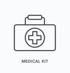 first aid kit flat line icon outline vector image