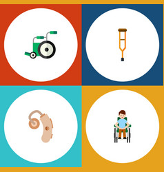 Flat icon cripple set of disabled person stand vector
