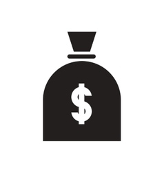 Flat icon in black and white money bag vector