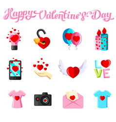 Flat with love icons vector