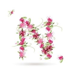Floral letter N for your design vector image