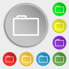 Folder icon sign Symbol on eight flat buttons vector image