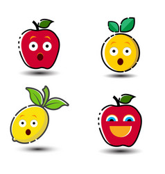 fruit emoticon symbol set vector image