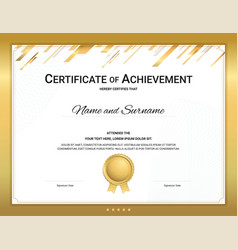 Gold certificate template in sport theme with vector