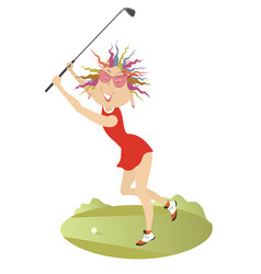 good day for playing golf for young woman vector image