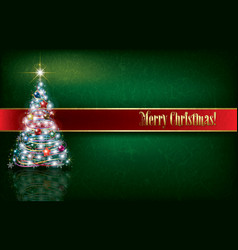 Greeting with christmas tree on grunge background vector