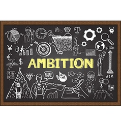 Hand drawn ambition on chalkboard vector image